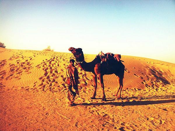 沙漠里行走的骆驼和骆驼人