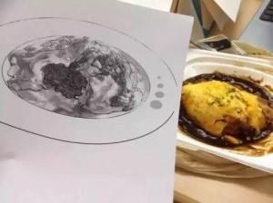 漫画比赛的时候,陪学生画漫画到很晚,突然说起很饿想吃蛋包饭但是晚上卡路里太高,于是第二天收到这个图