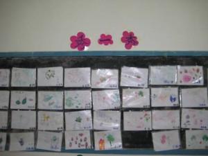 孩子们贴在黑板上的创作