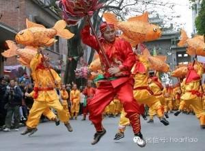 """潮州""""营大老爷""""活动的鲤鱼舞表演,庄婉聪摄"""